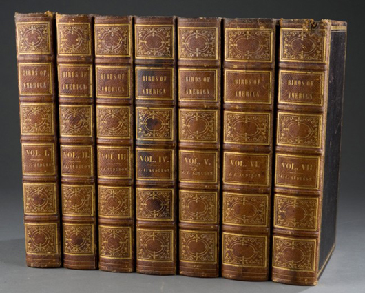 John James Audubon's The Birds of America, 7-volume set, 1840-1844, 1st octavo edition. From the Charles Truitt Estate. Est. $40,000-$60,000. Image courtesy of Waverly's Rare Books.