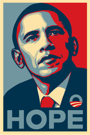 Barack Obama 'Hope' poster, artwork by Shepard Fairey. Fair use of copyrighted image to illustrate the subject in question.