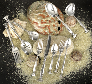 Ninety-four piece Set of Wallace's Romance of the Sea sterling silver flatware, designed in 1950 by William S. Warren (1888-1965). Image courtesy New Orleans Auction Galleries Inc.