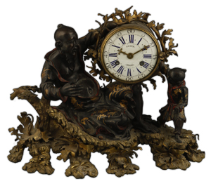 Despite its poor condition and replaced movement, this 18th century French mantel clock, the dial signed 'Gudin,' realized £54,000 ($85,572) at the Dorchester salerooms on Duke's in February. Image courtesy Duke's.