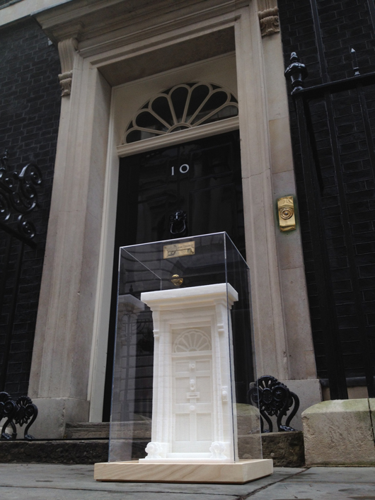 One lump or a hundred and twenty-two? This miniature sculpture of the British Prime Minister's official London residence — No. 10, Downing Street — by British artist Brendan Jamison is part of an exhibition of British craft and design currently on display at No. 10. Image courtesy of Brendan Jamison.