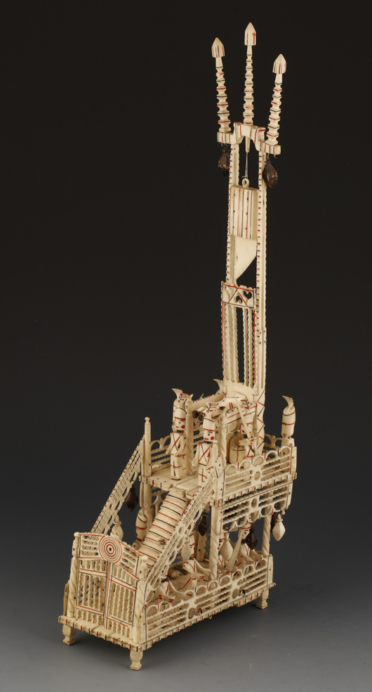 This intricate Napoleonic prisoner-of-war painted bone model of a guillotine brought £4,000 ($6,340) at Duke's Dorchester salerooms in February. Image courtesy Duke's.