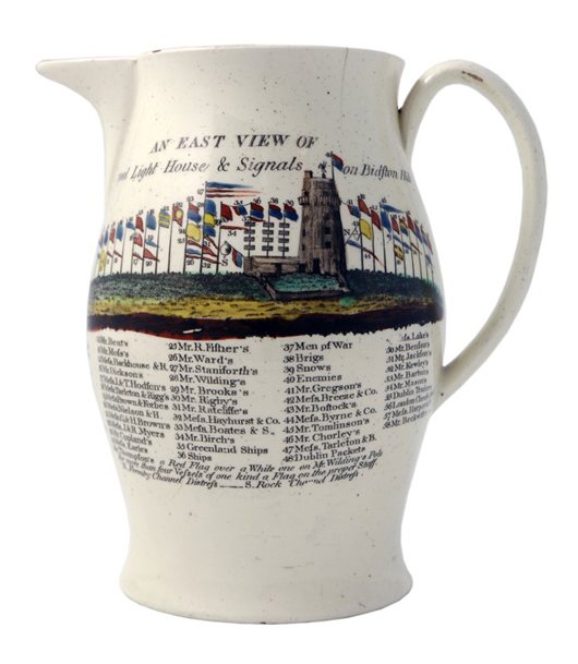 This rare inscribed and dated Liverpool creamware jug, 1793, painted and printed with 'An East View of Liverpool Light House & Signals on Bidston Hill,' is to be shown by Roger de Ville at the Chelsea Antiques Fair in March, priced at £1,575 ($2,500). Image courtesy Roger de Ville.