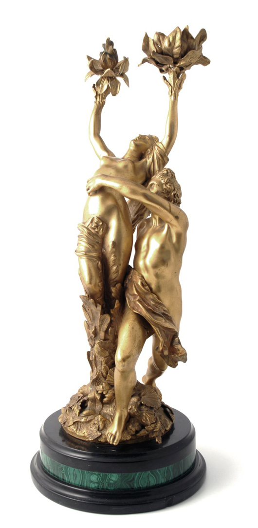 A 19th century gilt bronze group of Apollo and Daphne on a malachite and marble base, priced at £750 ($1,190) with Antediluvian at the Chelsea Antiques Fair. Image courtesy Antediluvian.