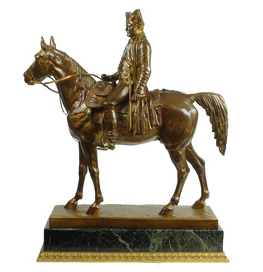 This rare 19th century gilt bronze equestrian figure of Napoleon, circa 1880, by Louis Marie Moris, is priced