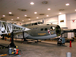 The Memphis Belle B-17 Flying Fortress stands disassembled in its hangar across from Naval Support Activity Mid-South during a 2003 restoration. U.S. Navy photo by Susan Hyback, courtesy Wikimedia Commons.