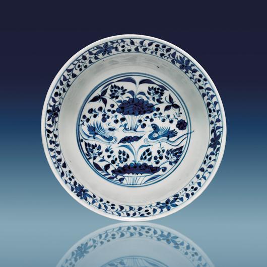 Yuan Dynasty blue and white porcelain bowl, est. $120,000-$150,000. I.M. Chait image.