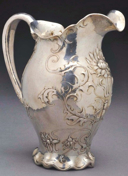 1899 Gorham silver martele water pitcher with chased, embossed finish, created for the Chicago firm Spaulding & Co., $27,000.