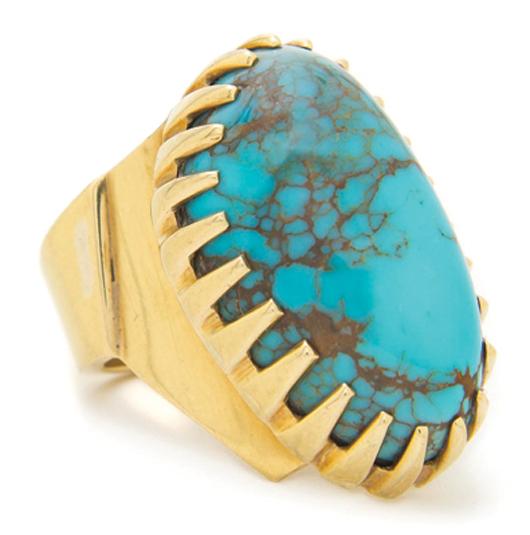 Hopi 18-karat gold lady's sand cast ring, Charles Loloma. Estimate: $6,000-$8,000. Image courtesy Leslie Hindman Auctioneers.