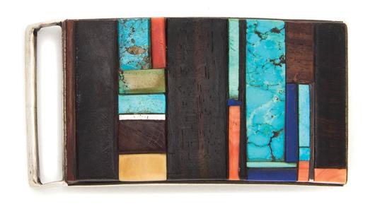 Hopi sterling silver belt buckle, Charles Loloma. Estimate: $6,000-$8,000. Image courtesy Leslie Hindman Auctioneers.