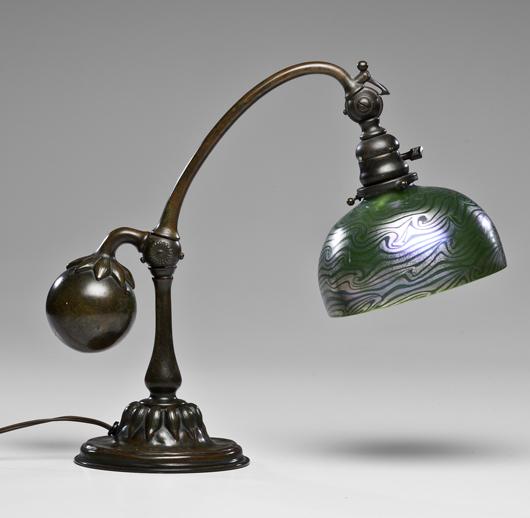 Tiffany Studios counterbalance lamp, marked, $7,344. Image courtesy Cowan's Auctions Inc.