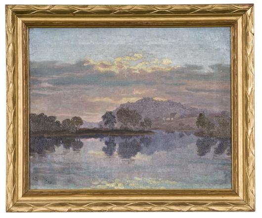 Tonalist landscape by Antanas Zemaitis, $16,800. Image courtesy Cowan's Auctions Inc.
