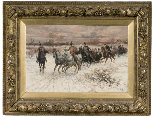 Jan Van Chelminski, 'Polish Sleighing Party,' $27,025. Image courtesy Cowan's Auctions Inc.