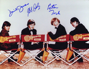 Davy Jones, far left, in a circa-1966 publicity photo of the musical group the Monkees. Image courtesy of LiveAuctioneers.com Archive and The Written Word Autographs.