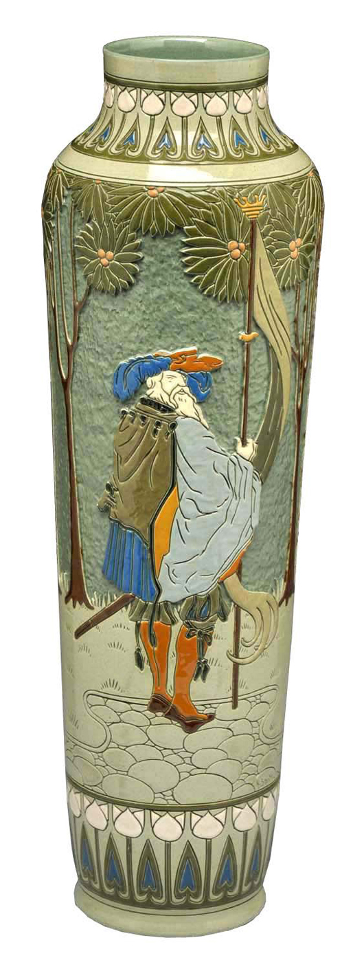 Extremely rare Roseville 8-color Della Robbia vase designed by Frederick Hurten Rhead (1880-1942), 20 in. tall, $10,800. Morphy Auctions image.