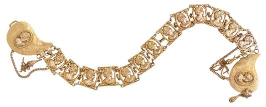 14K gold bridal belt, 578 grams, 373 dwt., $19,200. Morphy Auctions image.