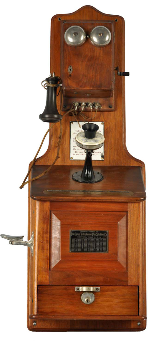 From the Bill Daniels collection, circa-1878 walnut 'coffin' phone, $12,000. Morphy Auctions image.