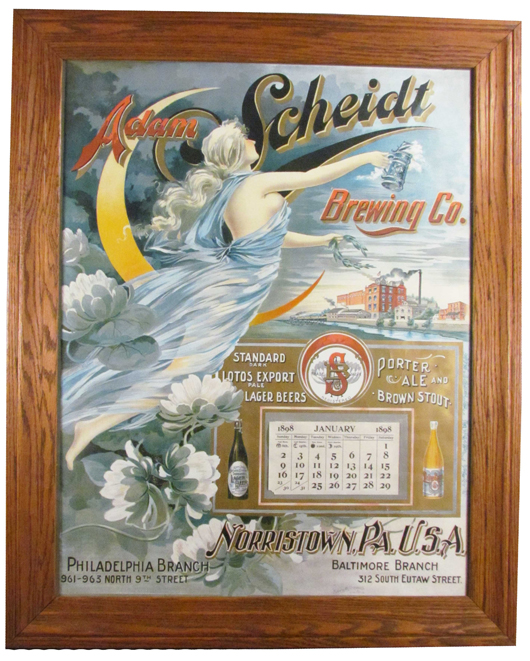 Rare calendar for Adam Scheidt Brewing Co., Norristown, Pa., in excellent condition. Image courtesy Showtime Auction Services.