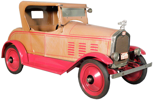 1926 Gendron 'Stutz' pressed steel pull toy, the best Stutz known to exist, 28 1/2 inches long. Image courtesy Showtime Auction Services.