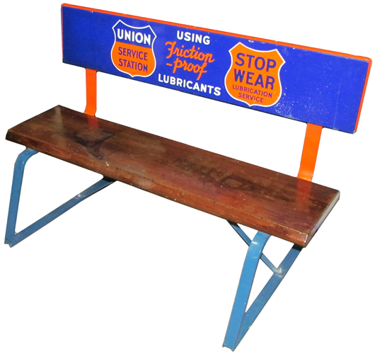 Union Gasoline Service Station porcelain and wood bench, one of only two examples known. Image courtesy Showtime Auction Services.