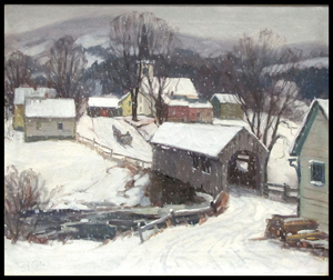 Thomas R. Curtin (American, Vermont 1899-1977) oil on canvas, winter village scene. Image courtesy William Jenack Estate Appraisers and Auctioneers.