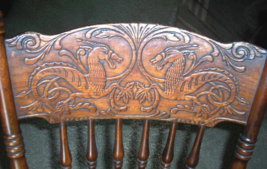 """Dragons – Of course the other main movement of the period, the """"creature  feature,"""" worked its way into the press back theme book. - Furniture Specific: Press-back Decoration Sans Carving"""