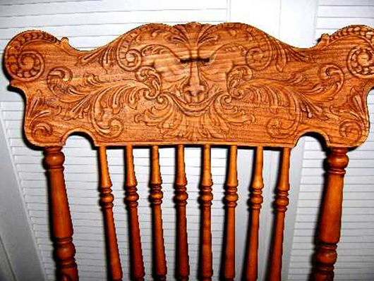 "Face – The ""face chair"" movement was a prime beneficiary of the press back  technology. Mythological creatures could now be instantly transferred to  chair ... - Furniture Specific: Press-back Decoration Sans Carving"