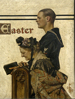 Joseph Christian Leyendecker, 'Easter,' oil on canvas, circa 1918, 24 x 18 1/2 inches, original illustration for the March 23, 1918 cover of 'The Saturday Evening Post.' Image courtesy A.N. Abell Auction Co.