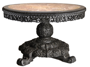 Hardwood center table. Image courtesy John McInnis Auctioneers.