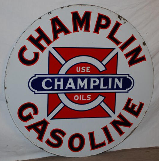 """Champlin Gasoline (""""Use Champlin Oils"""") double-sided porcelain sign, with logo. Realized: $2,420. Image courtesy Matthews Auctions LLC."""