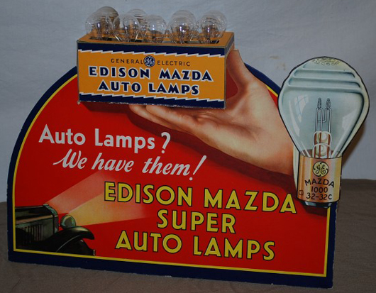 Edison Mazda Super Auto Lamps die-cut cardboard countertop display, rated 9. Realized: $3,410. Image courtesy Matthews Auctions LLC.