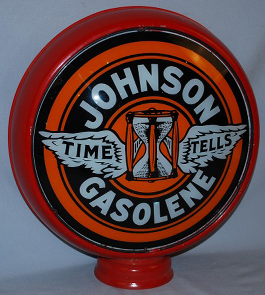 """Johnson (""""Time Tells Gasoline"""") 15-inch single lens in a new metal globe body. Realized: $4,675. Image courtesy Matthews Auctions LLC."""