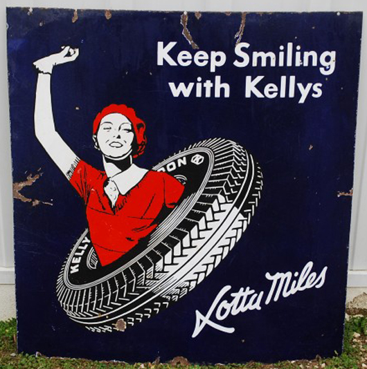 Kelly Balloon Tires single-sided porcelain sign with mascot Lotta Miles waving. Realized: $5,500. Image courtesy Matthews Auctions LLC.