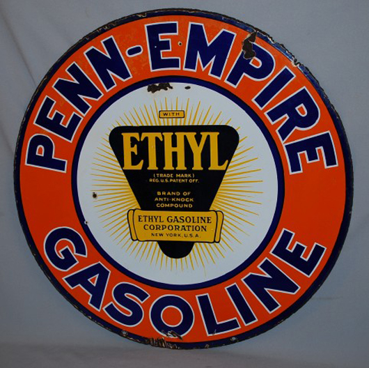 Rare Penn-Empire Gasoline double-sided porcelain sign with ethyl logo, rated 7.75. Realized: $6,875. Image courtesy Matthews Auctions LLC.