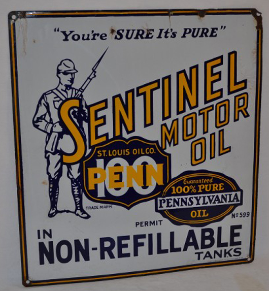 """Sentinel Motor Oil (""""You're Sure It's Pure"""") sign, with excellent gloss and color. Realized: $6,325. Image courtesy Matthews Auctions LLC."""