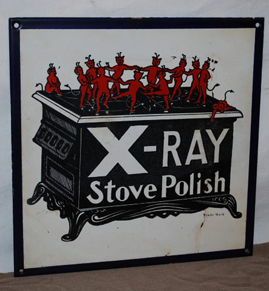 X-Ray Stove Polish single-sided porcelain sign, 11 inches by 11 inches, rated 8.9. Realized: $2,420. Image courtesy Matthews Auctions LLC.