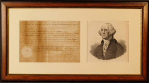 Portrait of George Washington framed together with a 1795 document signed by the first U.S. president and confirming the appointment of 'Richard Dickinson of Connecticut' to the position of 'Inspector of the Revenue for the Port of Saybrook,' est. $12,000-$16,000. Sterling Associates image.