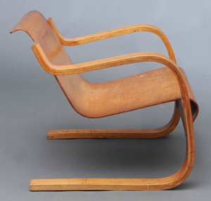 Alvaar Aalto's model 31 laminated armchair, circa 1935. Estimate: $2,500-$3,500. Image courtesy Fairfield Auction.