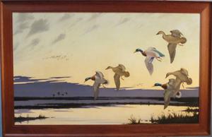 Robert C. Rishell, oil on canvas of ducks in flight. Maria Mozgova Auction image.