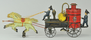 Fallows 22½-inch hand-painted tin fire pumper. Estimate $4,000-$6,000. Bertoia Auctions image.