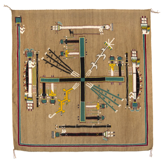 Navajo weaving titled 'Sandpainting,' by Ruby Manuelito, $7,960. Image courtesy of Leslie Hindman Auctioneers.