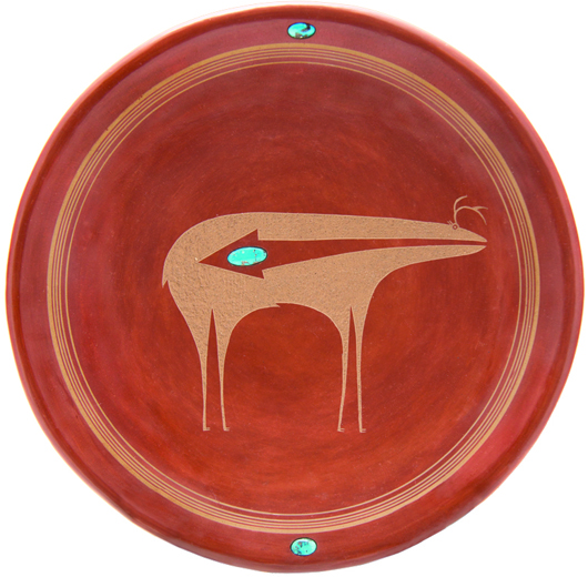 San Ildefonso Pueblo plate by Tony Da, $29,280, top lot of Hindman's Denver auction premiere. Image courtesy of Leslie Hindman Auctioneers.