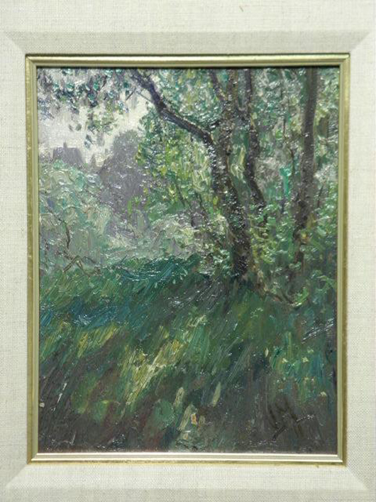 J.E.H. MacDonald oil on board painting titled 'Tanglewood, The Artist's Home and Garden,' 8 3/4 inches high by 6 3/4 inches wide. Estimate: $10,000-$15,000. Image courtesy Auctions Neapolitan.