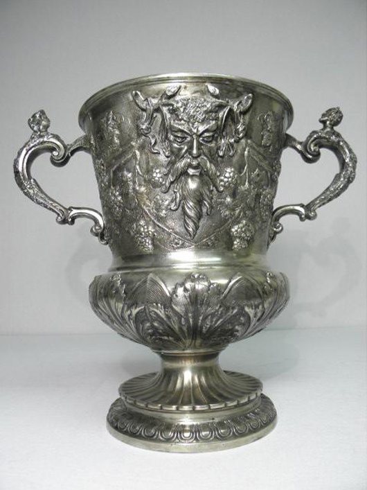 Hanau 19th century Continental silver figural wine cooler by Georg Roth & Co., 13 1/2 inches high by 15 1/4 inches wide, 92.21 troy ounces. Estimate: $2,500-$3,000. Image courtesy Auctions Neapolitan.