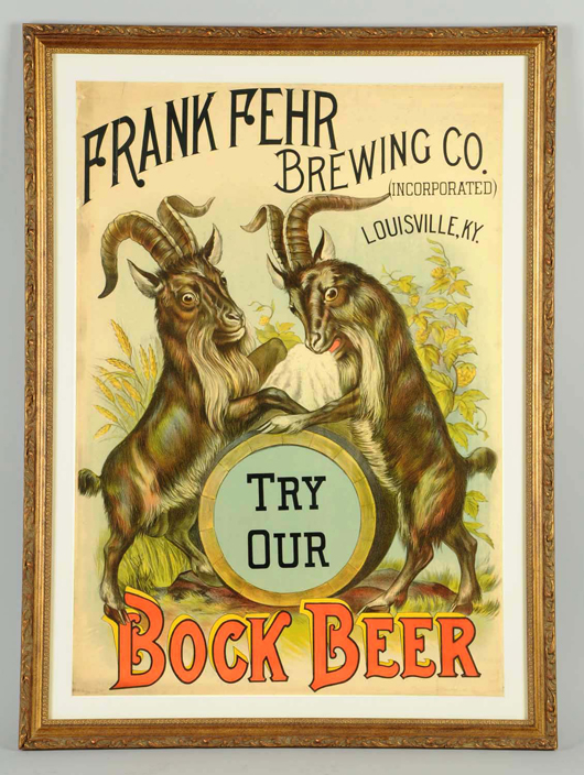 Frank Fehr Brewing Co. Bock Beer poster, est. $2,000-$3,000. Morphy Auctions image.