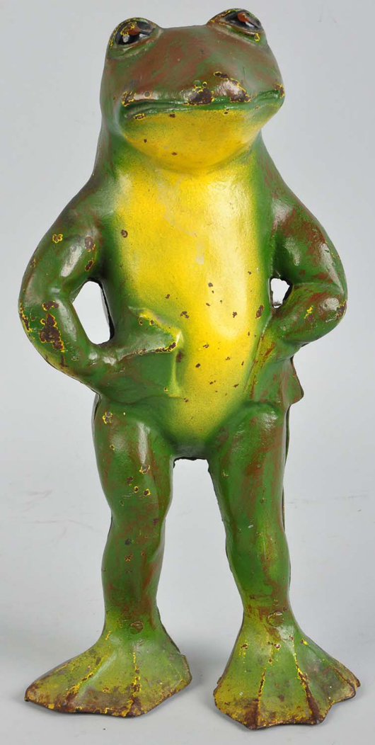 Cast-iron Standing Frog doorstop, 14 inches, est. $3,500-$5,000. Morphy Auctions image.