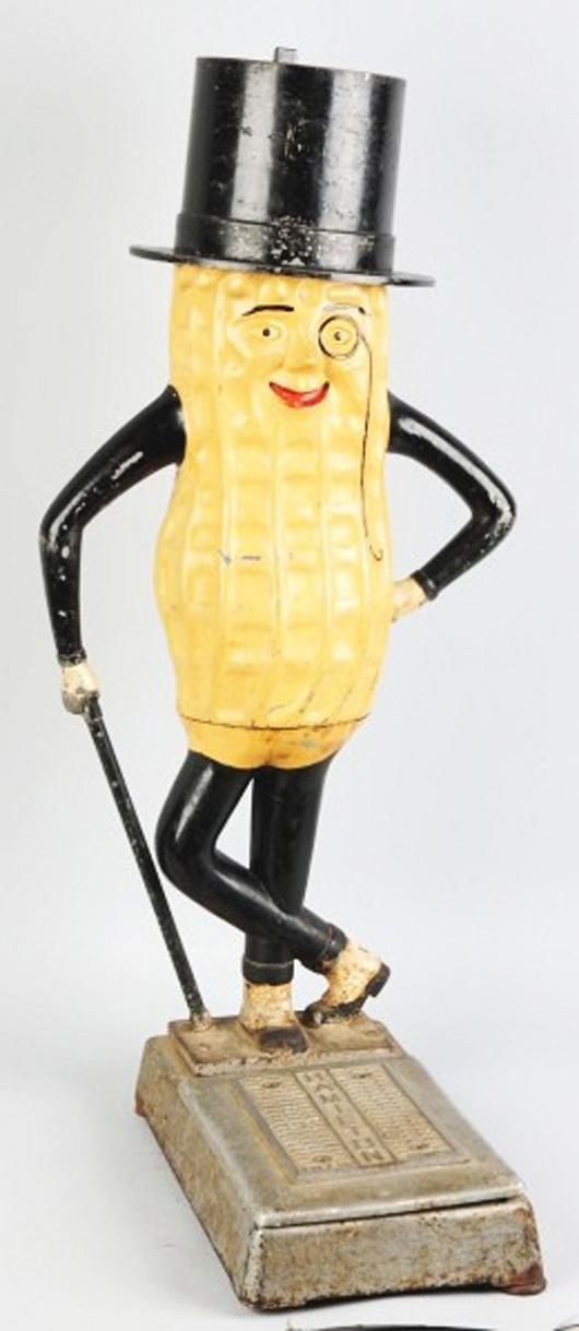 Figural cast-iron Planters Mr. Peanut Hamilton penny scale, est. $7,000-$12,000. Morphy Auctions image.
