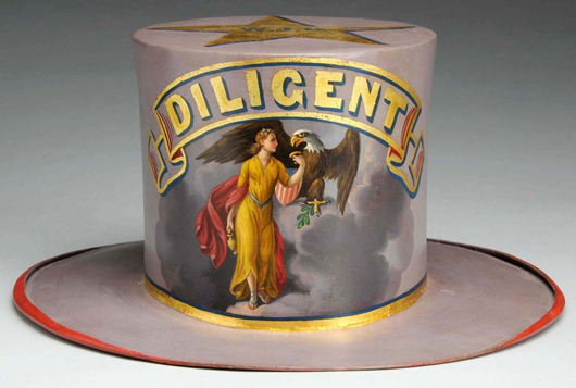 Parade hat for Diligent Fire Company, possibly of Jim Thorpe, Pa., 1860s, est. $20,000-$30,000. Morphy Auctions image.