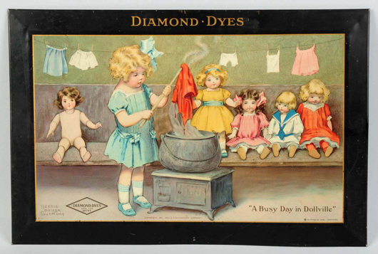 Diamond Dyes self-framed tin sign, dated 1911, Bessie Pease Gutmann image 'A Busy Day in Dollville,' est. $2,000-$3,000. Morphy Auctions image.