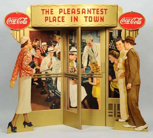 Coca-Cola trompe-l'oeil window display, 1937, 47 x 51 inches, among the rarest of all Coke advertising items, est. $15,000-$20,000. Morphy Auctions image.